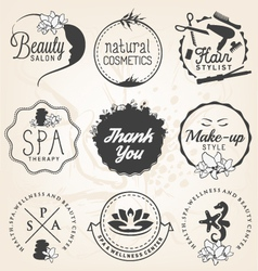 Beauty salon spa and wellness design elements vector