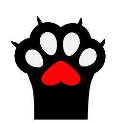 Big black cat paw print leg foot with nail claw vector