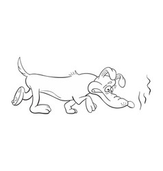 Black and white of a funny cartoon bloodhound dog vector