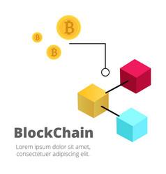 Blockchain concept bitcoin isometric blockchain ba vector