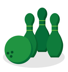 Bowling pins and ball icon vector