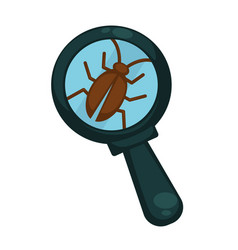 Brown cockroach under powerful magnifying glass vector