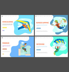 Bungee jumping and parkour activity website set vector