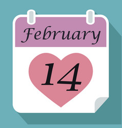 calendar date fourteenth february with pink red vector image