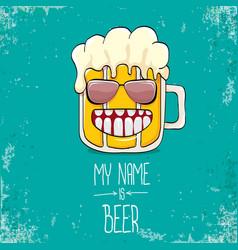 cartoon funky fresh beer glass character vector image