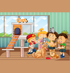 Children playing with their pets in room scene vector