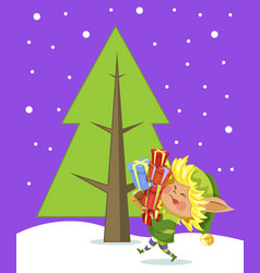 christmas card elf with gift near tree vector image