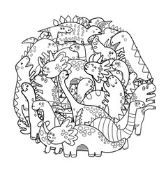 circle shape coloring page with cute dinosaurs vector image