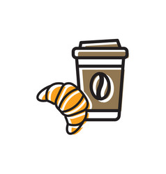 Coffee drink and fresh croissant vector