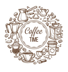 coffee time cups and beans monochrome sketch vector image