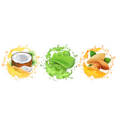 Cosmetic oil set coconut almond aloe vera vector