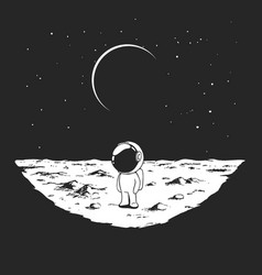 Cute astronaut stands alone on moon vector