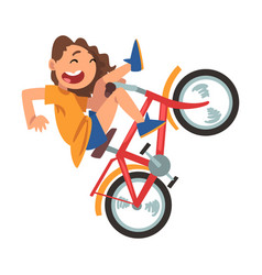 cute girl falling off bicycle teenager bicyclist vector image
