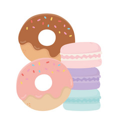 Donuts and macaroons sweet candy confectionery vector