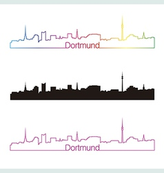 Dortmund skyline linear style with rainbow vector