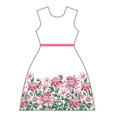 Dress design with chrysanthemum and peony vector