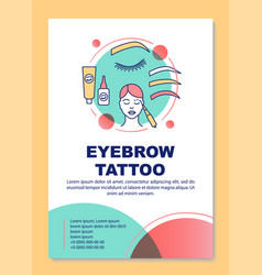 Eyebrow tattoo poster template layout tinting vector