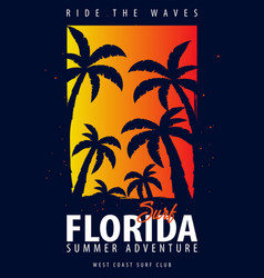Florida surfing graphic with palms t-shirt design vector