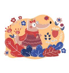 folk fox valentine day cartoon animal set vector image