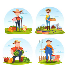 gardeners and farmers with animals and vegetables vector image