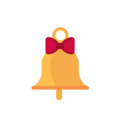 gold bell with bow decoration happy christmas icon vector image