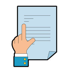 hand with document paper isolated icon vector image