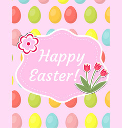 Happy easter greeting card flyer poster with red vector