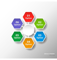 Hexagonal circle template with six options vector