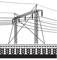 High voltage power line over field with plants vector