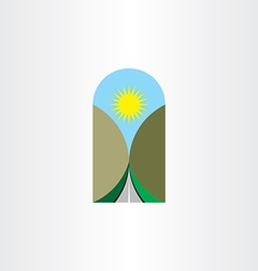 Highway landscape icon design element vector