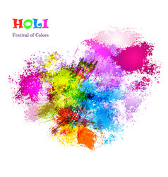 holi celebration card with colorful watercolor vector image