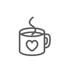 hot cup with heart valentine day line icon vector image