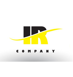 Ir i r black and yellow letter logo with swoosh vector