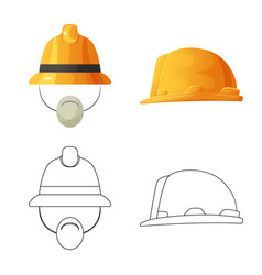 Isolated object of headgear and cap logo set of vector