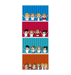 Kids students cartoons cards vector