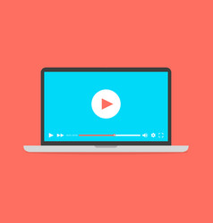 laptop with video player on screen vector image