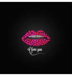 Lips kiss lipstick love design background vector