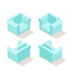 low poly isometric armchair in different positions vector image