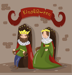 Majestic king and queen in golden crowns sitting vector
