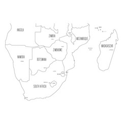 Map southern part africa handdrawn doodle vector