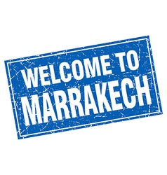 Marrakech blue square grunge welcome to stamp vector