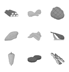 Meats set icons in monochrome style Big vector