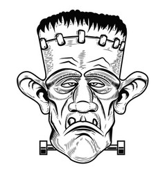 Monster head halloween zombie design element for vector