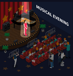 Musical evening isometric composition vector