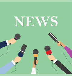 news concept with microphones in hand media tv vector image