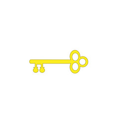 old key house icon logo yellow antique key vector image