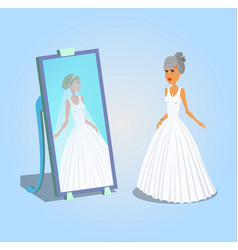 Old woman in wedding dress vector