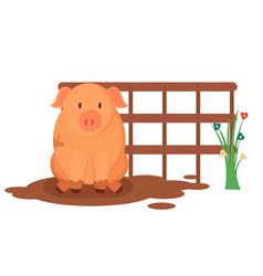 Piglet sitting in mud farm animal piggy vector