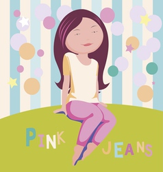 Pink jeans vector