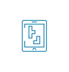 playing tetris linear icon concept playing tetris vector image